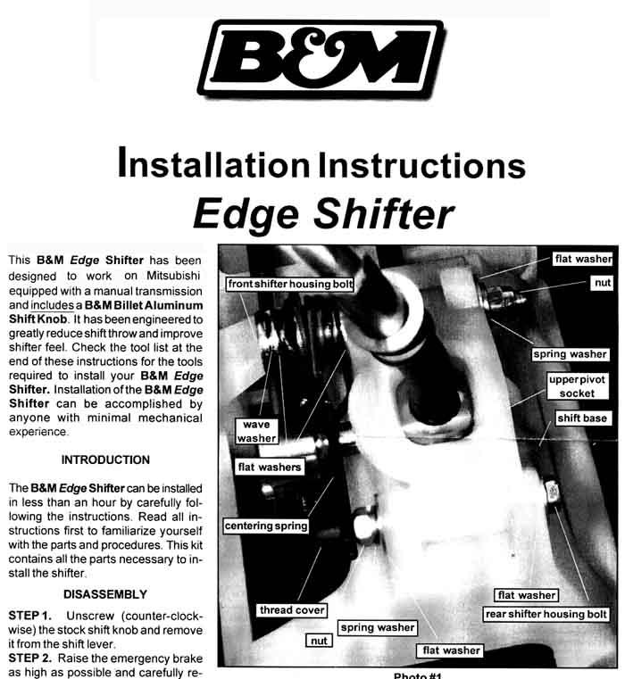 Rre 3g Eclipse Bm Short Shifter Install Instructions
